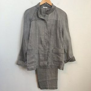 Eileen Fisher Linen Crop Pant Suit Sz M / 12 Green